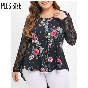 Tops - Plus Size Hi/Low Lace Sleeve Blouse